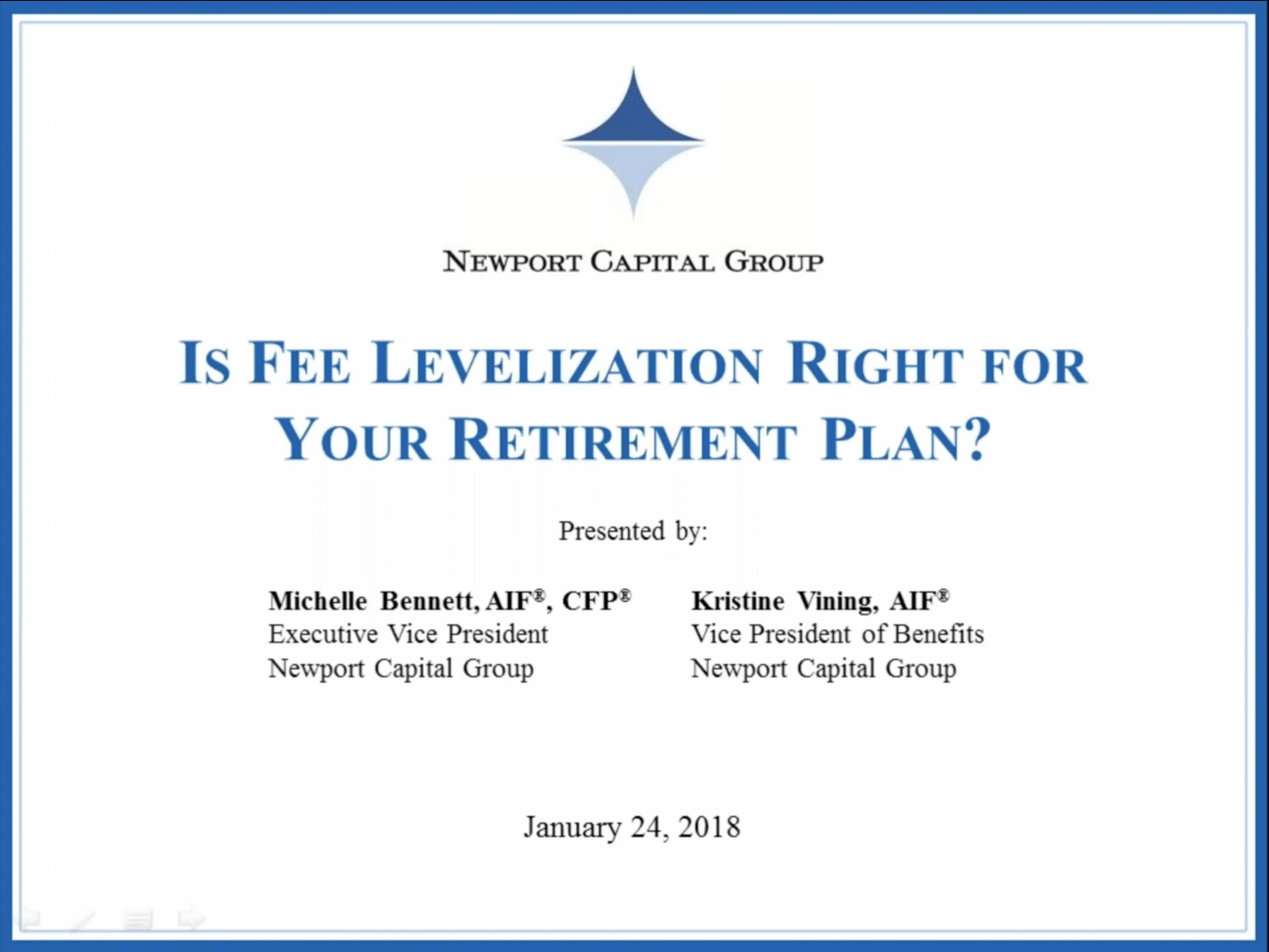 Fee Levelization